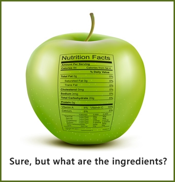 Apple with nutrition facts label. Concept of healthy food, image © ecco