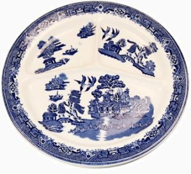 Blue Willow divided plate china pattern