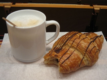 chocolate croissant and cappuchino