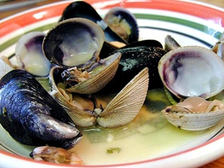 clams and mussels in broth