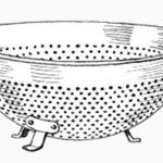 drawing of a typical kitchen colander or pasta strainer