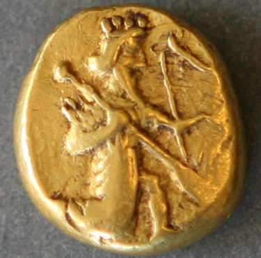 a Persian daric coin circa 490BC, a gold coin mentioned in the bible as a dram