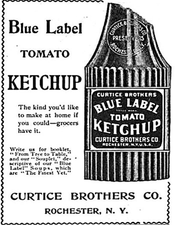early ketchup advertisement 1898 Blue Label Ketchup