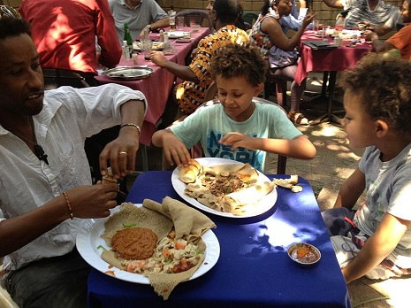 Ethiopian meal with injera bread