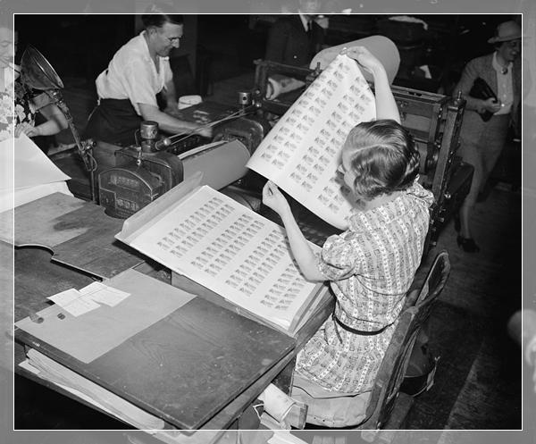 historic photo of food stamp printing