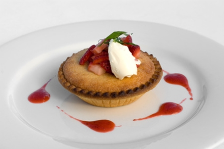 Frangipane Tartlet with Strawberry Coulis, image © Phillip Minnis