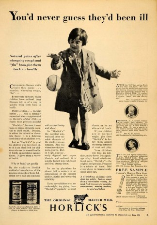 Collectible Vintage Horlick's Malted Milk Ad, 1928