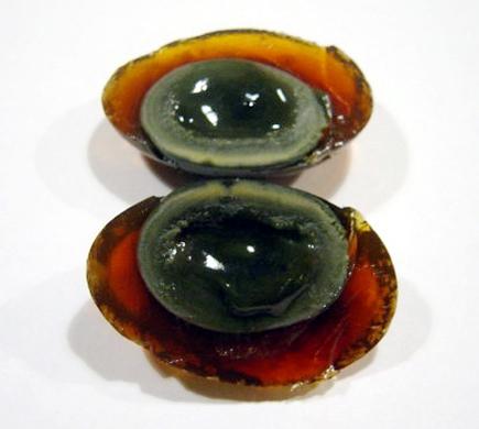Chinese Hundred Year egg sliced open