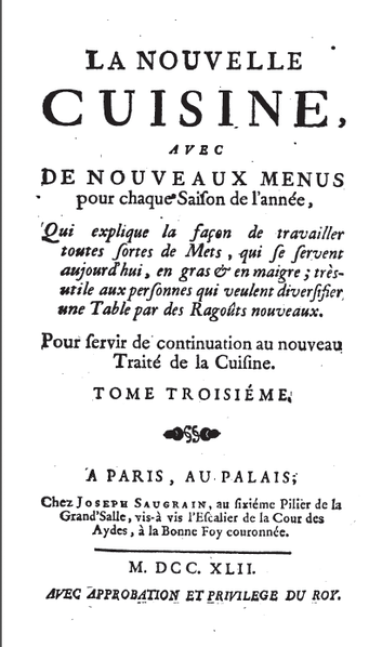 Cover page of Menon's La nouvelle cuisine (1742), the 3rd volume of his Traité de la cuisine