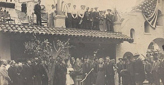 Roosevelt at replanting of original navel orange tree, 1903