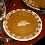 pumpkin pie on table