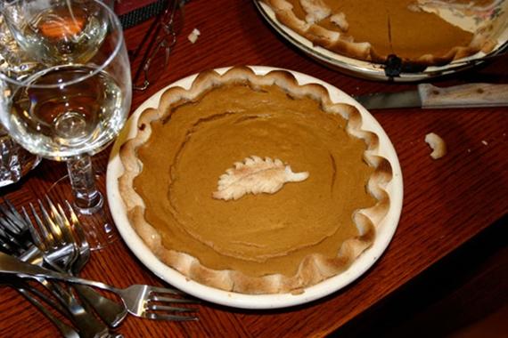 pumpkin pie on table