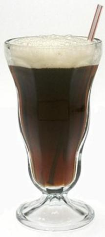 Root beer in soda fountain glass with straw