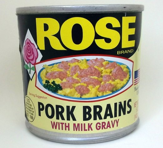 Rose brand canned pork brains with milk gravy