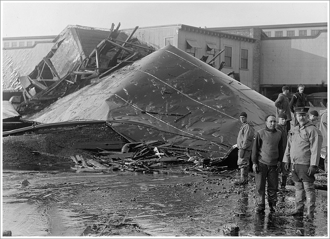 destroyed molasses tank after Bostom Molasses flood