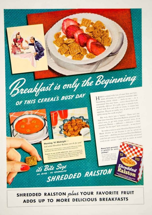 Vintage Advertisement for Shredded Ralston cereal, c. 1941