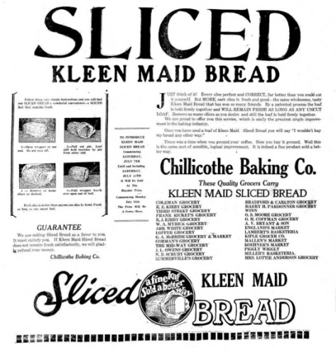 Kleen Maid Sliced Bread vintage ad, first commercial sliced bread