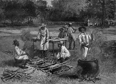 "A Southern Barbecue"" wood engraving by Horace Bradley From Harper's Weekly, July 1887"