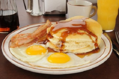sunny side up eggs with pancakes and bacon, image © MSPhotographic