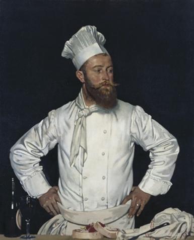 Traditional chef's uniform, toque, jacket, torchon, apron