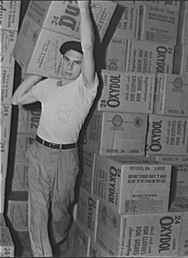 grocery warehouse with oxydol soap 1942