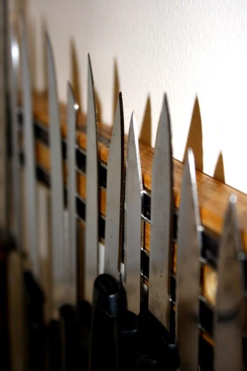 Magnetic knife rack for storage