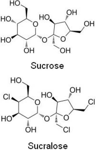 Sucrose and sucralose structural forumulas