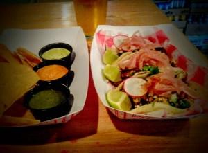 Skirt Steak, Salmon & Chicken Tacos with Chimichurri, Rocoto Rojo & Lime Roasted Jalapeno Mayo