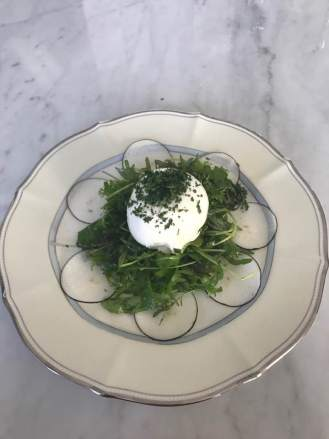 black radish and burrata salad