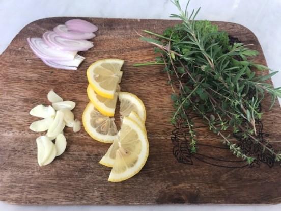 cutting board bean salad