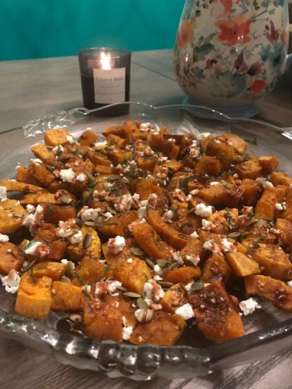 Butternut Squash with Feta and Pomegranate Molasses