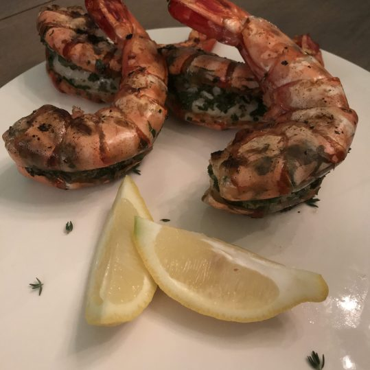 Grilled Tiger Prawns with Persillade