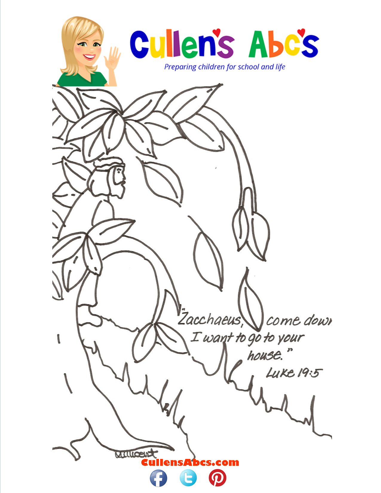 Bible Key Point Coloring Page Zacchaeus Online Preschool And