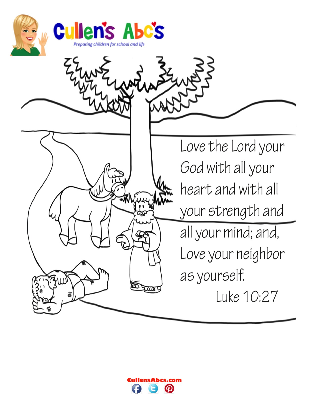 Bible Key Point Coloring Page The Good Samaritan