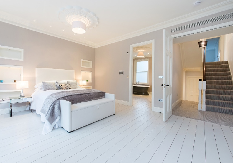 A contemporary bedroom staged by Cullum Design | London UK
