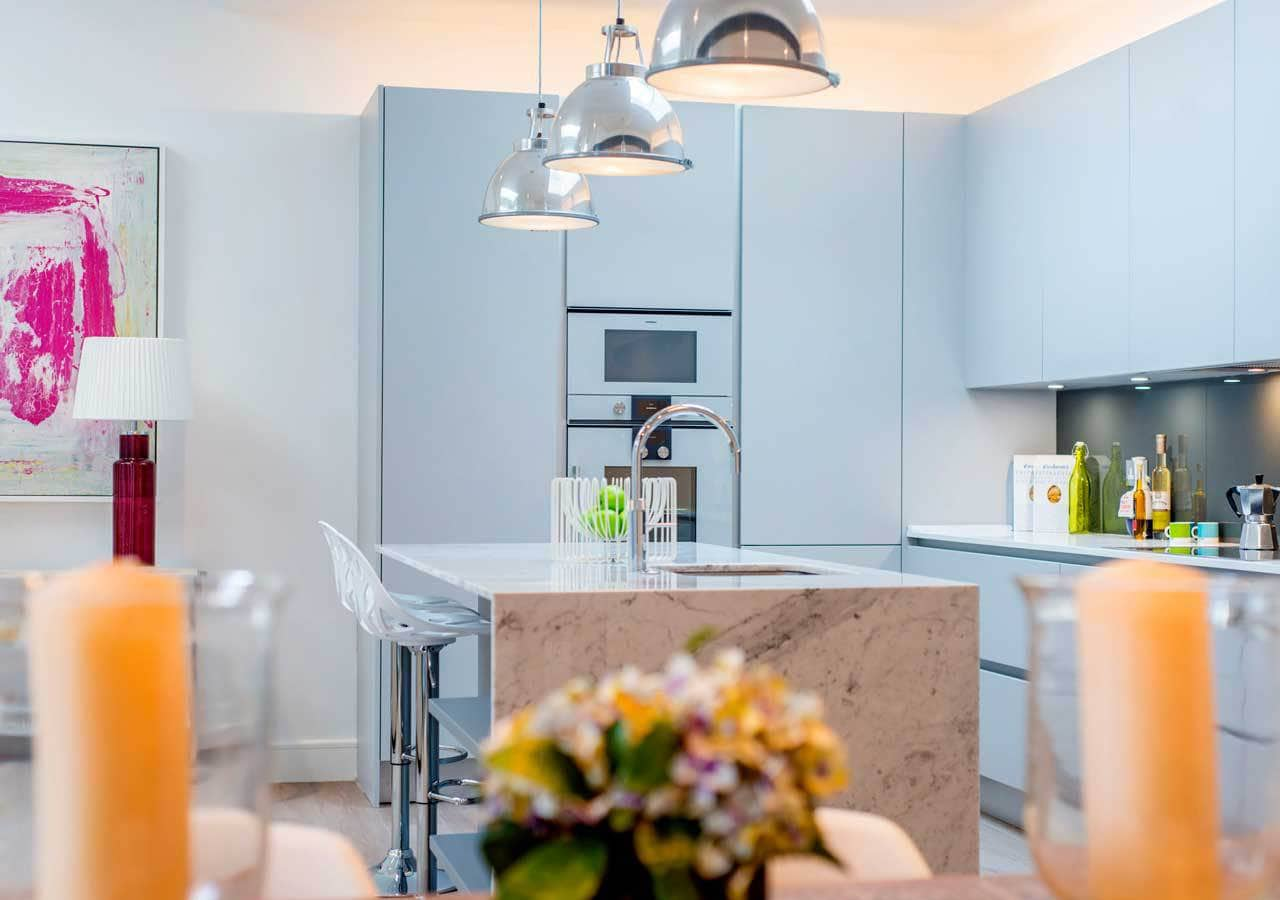 light and spacious kitchen dining area home staged by Cullum Design   London UK