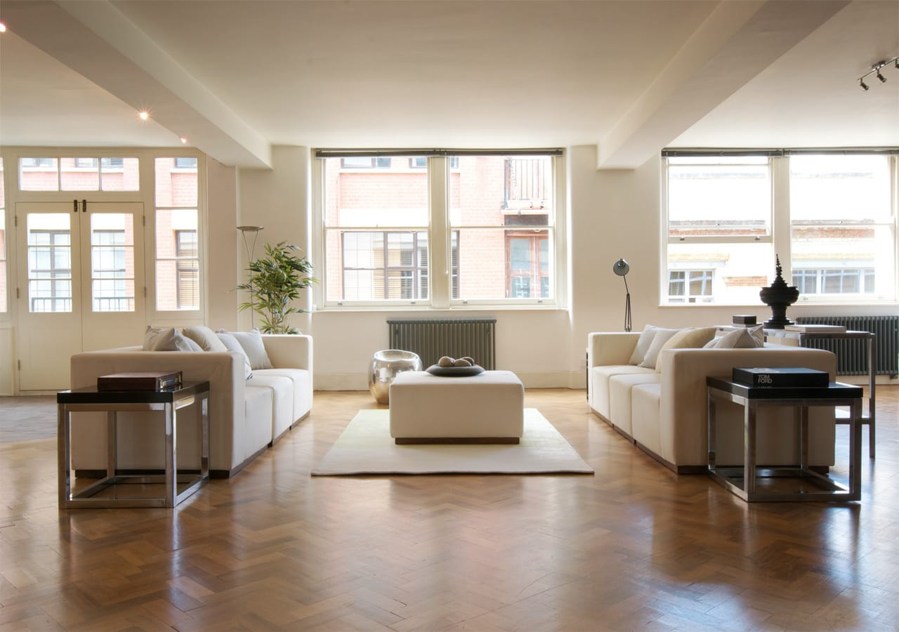 interior styling, light and spacious apartment reception room home staged by Cullum Design | London UK