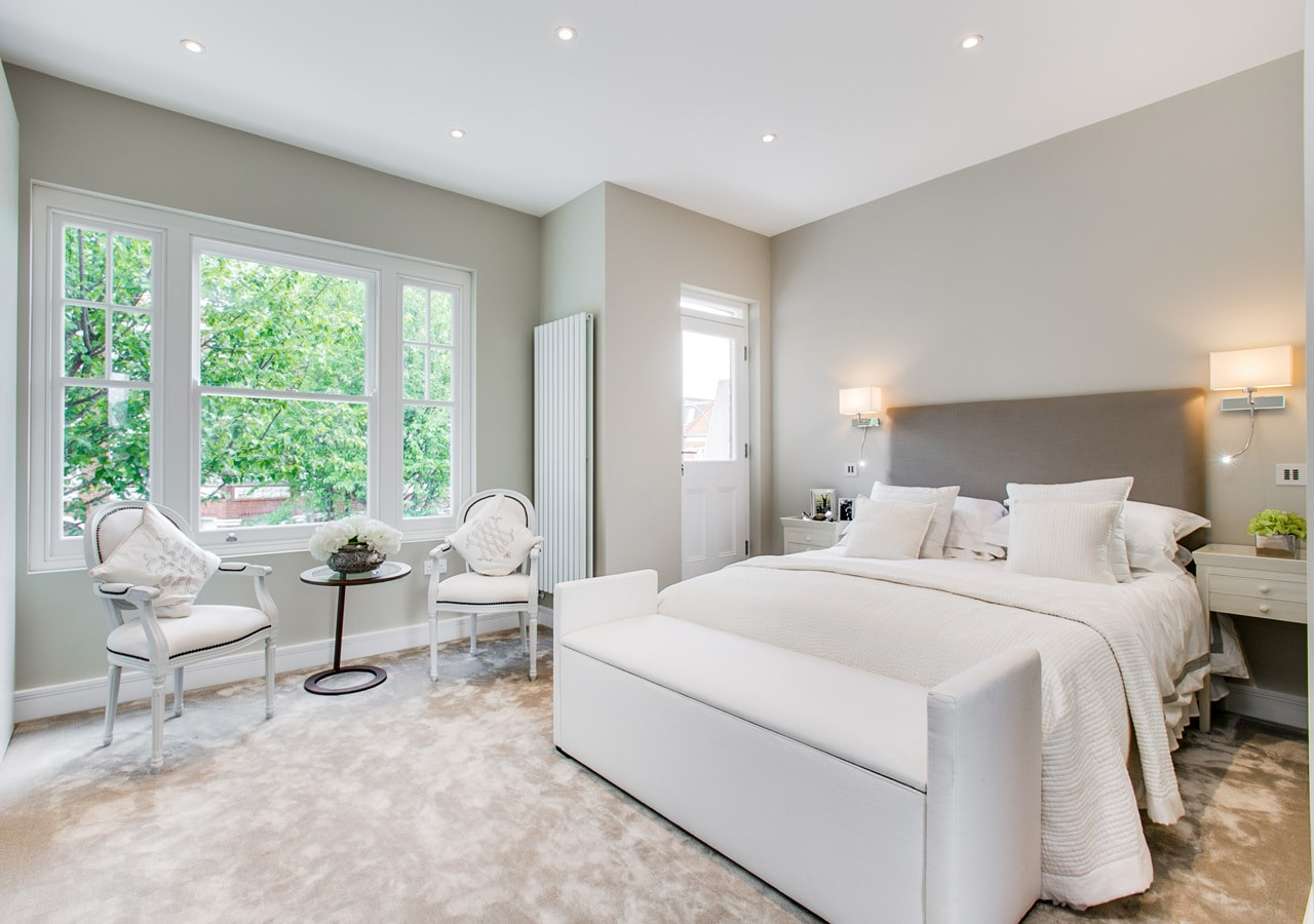 A classic contemporary Fulham Townhouse bedroom designed by Nicola Scannell Design and Home Staged by Cullum Design   London UK