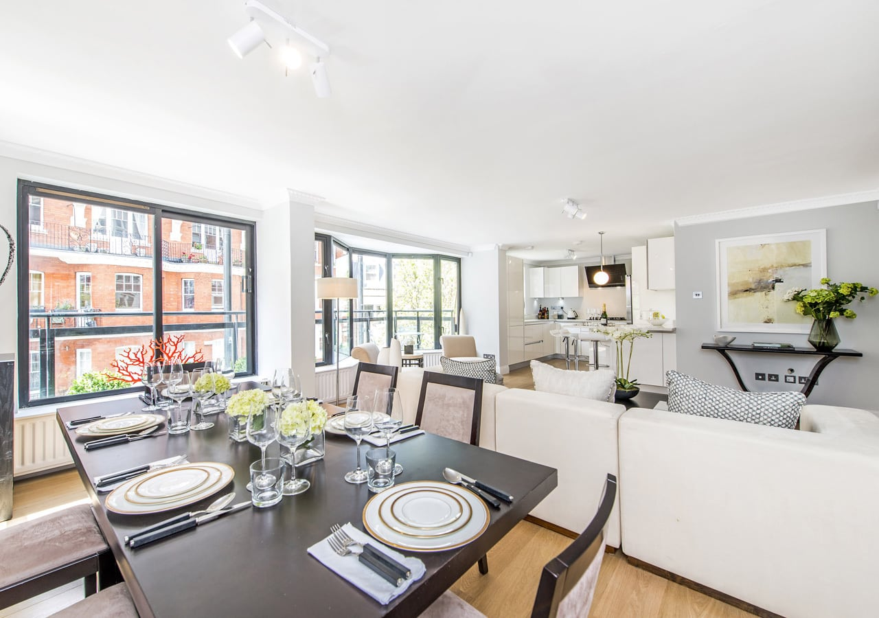 Light and spacious apartment dining room home staged by Cullum Design   London UK