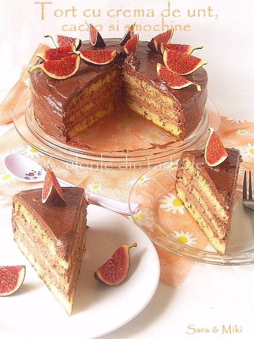 Tort-cu-crema-de-unt, cacao-si-smochine 7