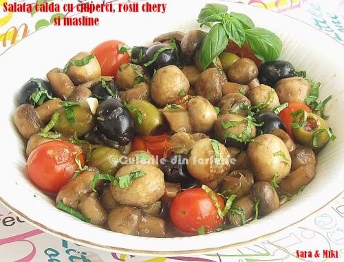Salata-calda-cu-ciuperci-rosii-chery-si-masline3-1