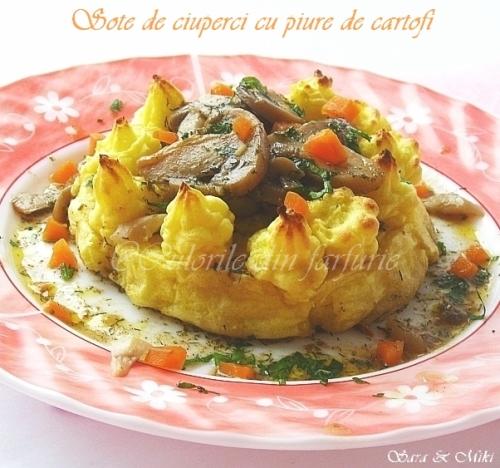 Fantezie din ciuperci in sos cu piure de cartofi 4