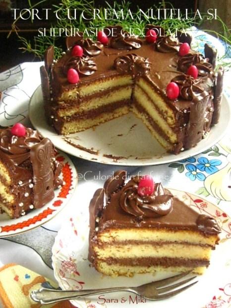 Tort-cu-crema-nutella-si-iepurasi-de-ciocolata-1