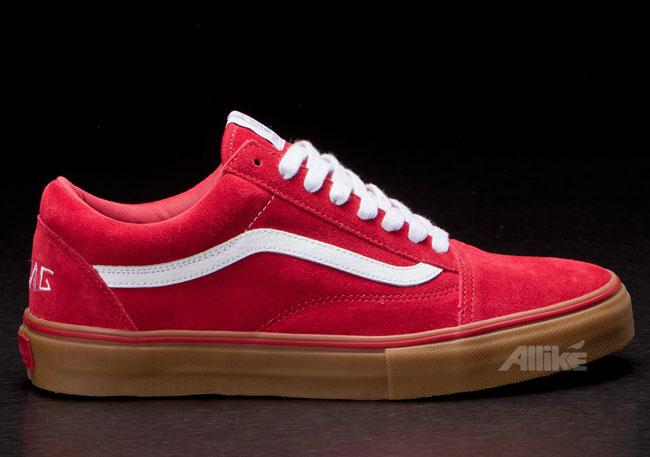 vans old skool red gum sole