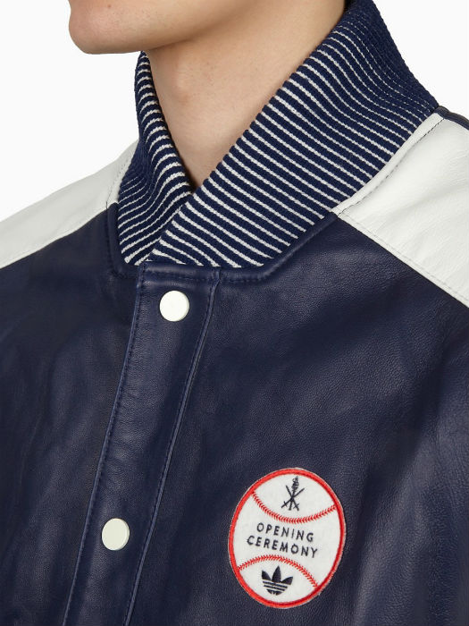 adidas Originals x Opening Ceremony Navy Blue Baseball Leather Varsity Jacket