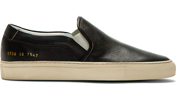 Common Projects Black Leather Slip-On Shoes