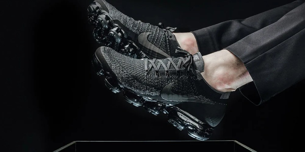 Nike Air VaporMax triple black on feet