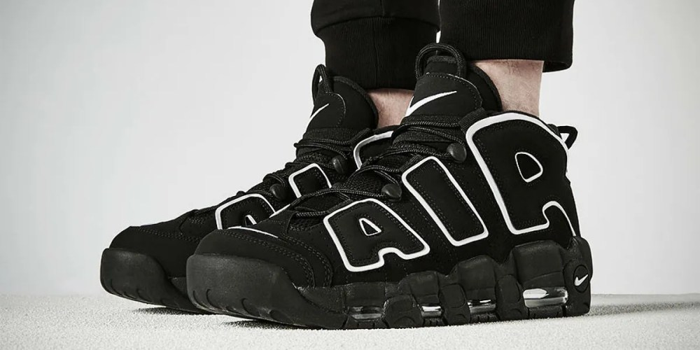nike air more uptempo black on feet
