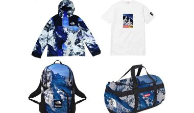 supreme x the north face snowy mountains