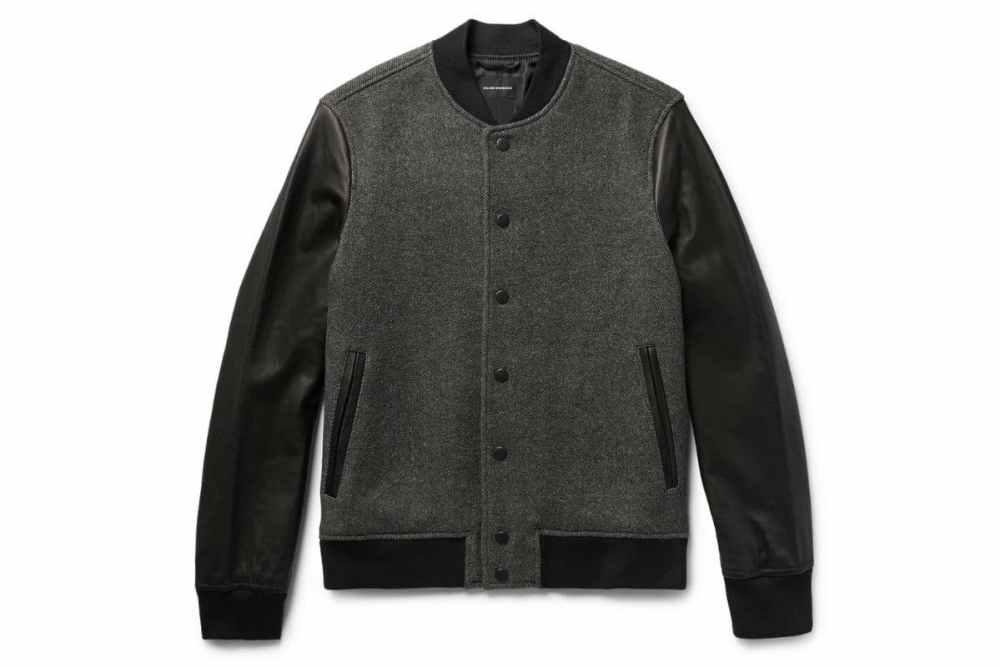 Club Monaco Wool Blend Twill Leather Bomber Jacket